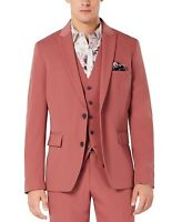 INC Mens Blazer Dusty Red Pink Large L Slim Fit Two Button Notch-Lapel $129 114
