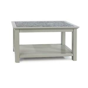 Grey Painted Coffee Table Practical Stone Top Solid Wood Open Storage Shelf