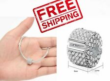 Authentic Silver Clip Lock Spacer Stopper Charm Bead Suits Pandora Bracelet