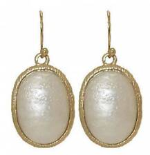 OVAL MOTHER OF PEARL & 18 Karat Brushed Goldplate DESIGNER EARRING NEW