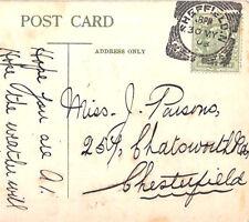 CB185 1908 GB SQUARED CIRCLE Superb *Sheffield.N* Yorks Postcard Chesterfield