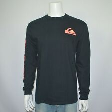 NWT QUIKSILVER Regular Fit 100% Cotton Long Sleeve Graphic Logo T-Shirt Tee Sz L