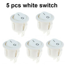 5 X Car 12V ON/OFF Round Rocker Boat Toggle Switch Push Button White