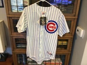 NWT Kosuke Fukudome #1 Chicago Cubs SEWN MAJESTIC pinstriped Jersey SZ M - Cool