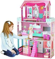Wooden Dolls House 3 Storey Large Mansion Furniture Girls Kids Children Gift