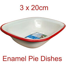 Set of  3 - 20cm - Oblong Red Falcon Enamel Oven Roasting Pie Dishes