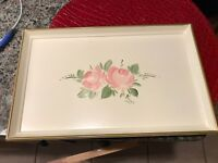 VINTAGE PLASTIC ARTIST SIGNED HAND PAINTED FLORAL Serving Tray-VTG TJMAXX 80'S