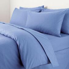 King Size Plain Dyed Duvet Cover Set Mid Blue Polycotton Luxury Heavy Quality