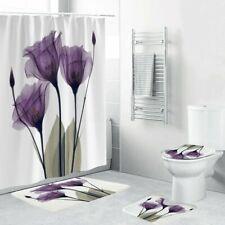 4 Pcs Home Bathroom Bath Mat Set Anti Slip Rugs Toilet Lid Cover Shower Curtain