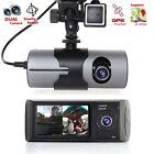 "Dash Cam 2.7"" TFT LCD HD Dual Camera Car DVR Black Box w/ GPS Tracker + G-Sensor"