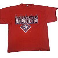 Vintage MLB Texas Rangers Baseball 95 Nutmeg Casual Sports Red T Shirt Size L
