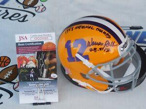 Warren Rabb signed LSU Tigers mini helmet w/ 1958 National Champs JSA COA