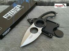 """7"""" Fixed Spear Point Tactical Survival Neck Knife Hunting Survival Silver/ Black"""