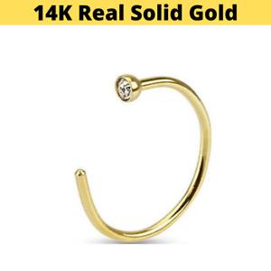 """14K Solid Yellow Gold 14 Karat 20G 5/16"""" CZ Gem Open Nose Hoop Ear Ring Helix"""