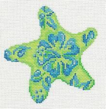 Associated Talents Blue Flower Starfish handpainted Needlepoint Canvas Ornament