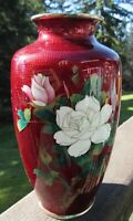 "Vintage 8"" Japanese Sato Ginbari Pigeon Blood Cloisonne Enamel Flower Vase"