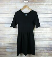 VINCE CAMUTO Women's Elbow Sleeve Ribbed Dress SIZE S Small Black