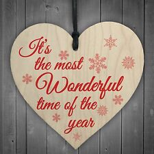 Most Wonderful Time Of The Year Wooden Hanging Heart Plaque Christmas Tree Decor