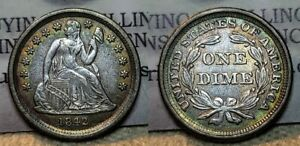 1842 Seated Liberty Dime 10c AU