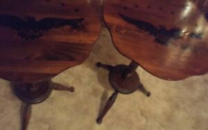SET OF TWO(2) Round Solid Wood Tables With Let Down Top....Very Old & Has Eagles