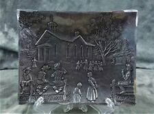 """Wendell August Forge Amish School w/Children Playing Rectangular Plate 5"""" x 4"""""""