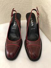 Prada Reddish Maroon Shiny Leather Round Toe Block Heels Pump Women Sz 40/ 9