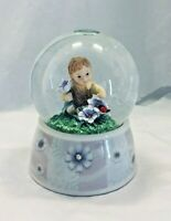 Twinkle Little Boy with Blue Daisies Waterglobe Snow Globe Porcelain From Canada