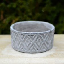 Low Cylinder Geometric Stone Cement Grey Herb Plant Pot Cover Planter Heavy Bowl