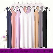 Camisole Petticoat Lady Seamless Soft Long Vest Tank Top Underdress Plain Dress