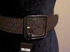 "Brown Thick Elastic Waist  Leather Band MICHAEL KORS ""MK"" Logo Ladies Belt M/L"