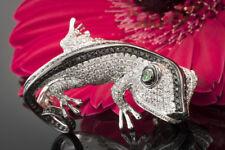 Schmuck Chamäleon Ring Gecko Brillanten weiß schwarz Tsavorit Augen Weißgold 750