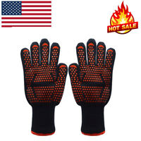 Heat Resistant BBQ Gloves 932°F Oven Barbecue Grilling Baking Welding Mitts