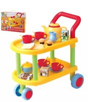 NEW KIDS PLAY AND PRETEND 22 PIECE PLASTIC TEA TIME TROLLEY SET BEST GIFT
