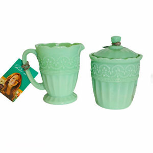 The Pioneer Woman Timeless Beauty Jade Green Covered Sugar Bowl & Creamer Set