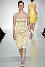 BEHNAZ SARAFPOUR RUNWAY GOLD METALLIC BROCADE 2PC DRESS TOP & SKIRT