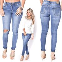 WOMEN LADIES Mid Rise Destroy Ripped Slim Fit Skinny Denim Jeans UK 6 8 10 12 14