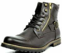 Mens Leather Military Motorcycle Combat Riding Ankle Leather Boots Shoe  Size US