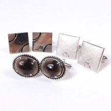 Mixed Lot of 3 Pairs of Men's SWANK Vintage Metal & Sterling Silver Cufflinks