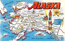 State map postcard Alaska 49th State chrome large letter