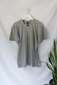HUDSON Men's Light Grey Popper Button T-shirt 100% Cotton Tee Jersey Size M Med