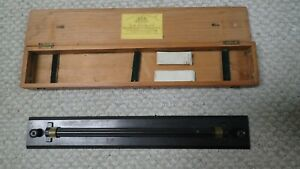 "Antique Cased Brass Rolling Parallel Ruler 18"" by W F Stanley"