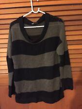 Woman's Fits Size 10 label XS Dotti dark & light Grey striped chunky jumper