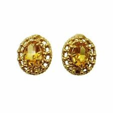 18ct Portuguese Gold Oval Citrine French Clip Earrings