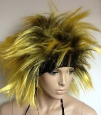Black & Yellow Spikey Fancy Dress Wig. Mad Punk/Party Style UK Dispat
