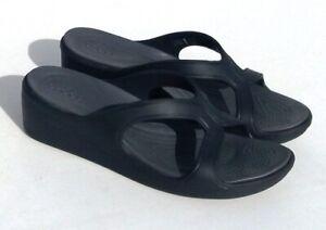 CROCS Sanrah Wedge Dual Comfort Dark Gray Shoes Women's Size 9 (Fast Shipping)