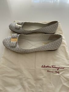 Salvatore Ferragamo White Perforated Leather Varina Lace Ballet Flats Size UK6.5
