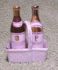 Vintage 1940's Pretty Porcelain Bottles in Basket SALT & PEPPER SHAKERS
