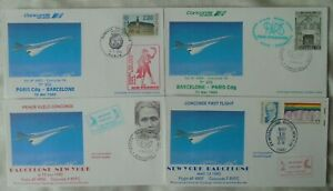 Air France Concorde flights 4 covers - Barcelona to Paris & New York 2 pairs