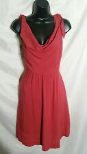 Rare MAEVE Anthropologie Tied Down Size 2 Red Drape Cowl Neck Fit Flare Dress
