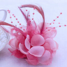 Pearl Flower Feather Glitter Corsage Hair Clip Womens Wedding Brooch Hairpin Hot